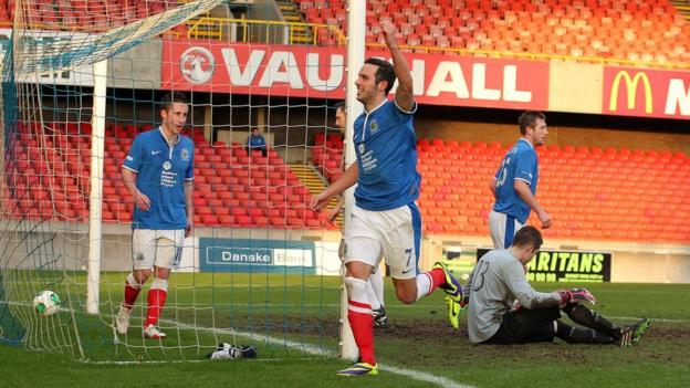 Andy Waterworth scored one of Linfield's five goals against Dergview on Saturday