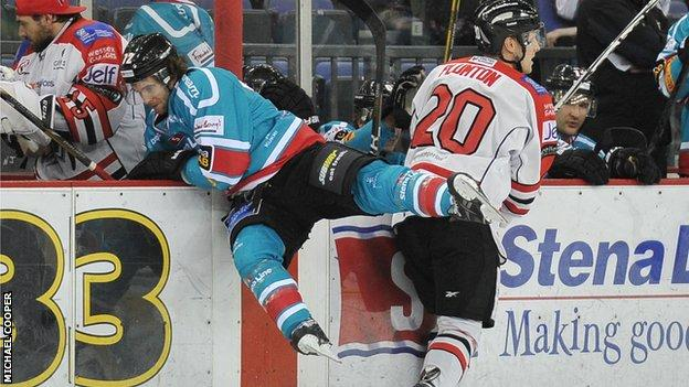 Action from Belfast v Cardiff at the Odyssey Arena