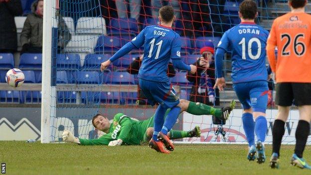 Dundee United goalkeeper Radoslaw Cierzniak saves a penalty by Inverness midfielder Nick Ross