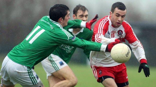 Aaron Kerrigan surges forward against Fermanagh