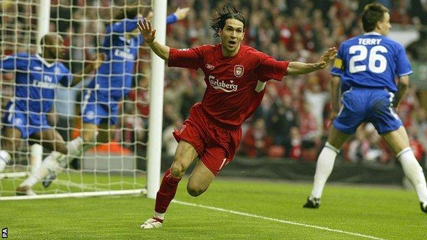 Luis Garcia celebrates his goal for Liverpool against Chelsea in the second leg of a Champions League semi-final in 2005