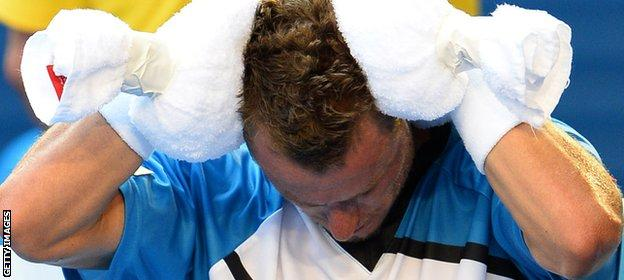 Even Australian Lleyton Hewitt found the temperatures hard to deal with