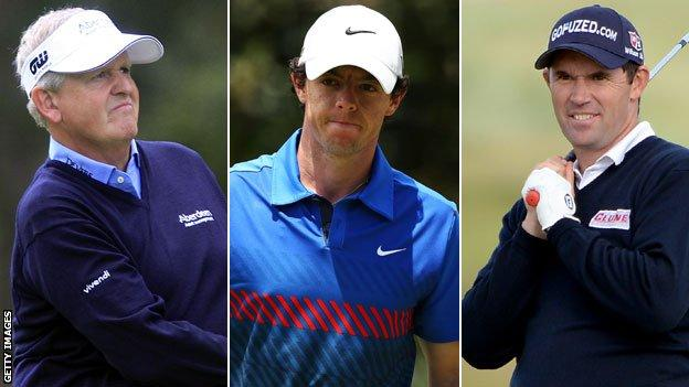 Colin Montgomerie, Rory McIlroy and Padraig Harrington