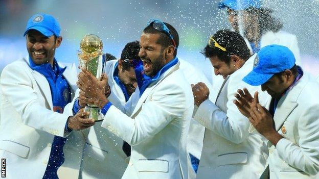 India celebrate winning the Champions Trophy