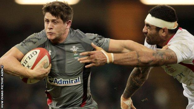 Lloyd Williams in action for Wales against Tonga