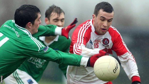 Aaron Kerrigan (right) hit seven points for Derry against St Mary's