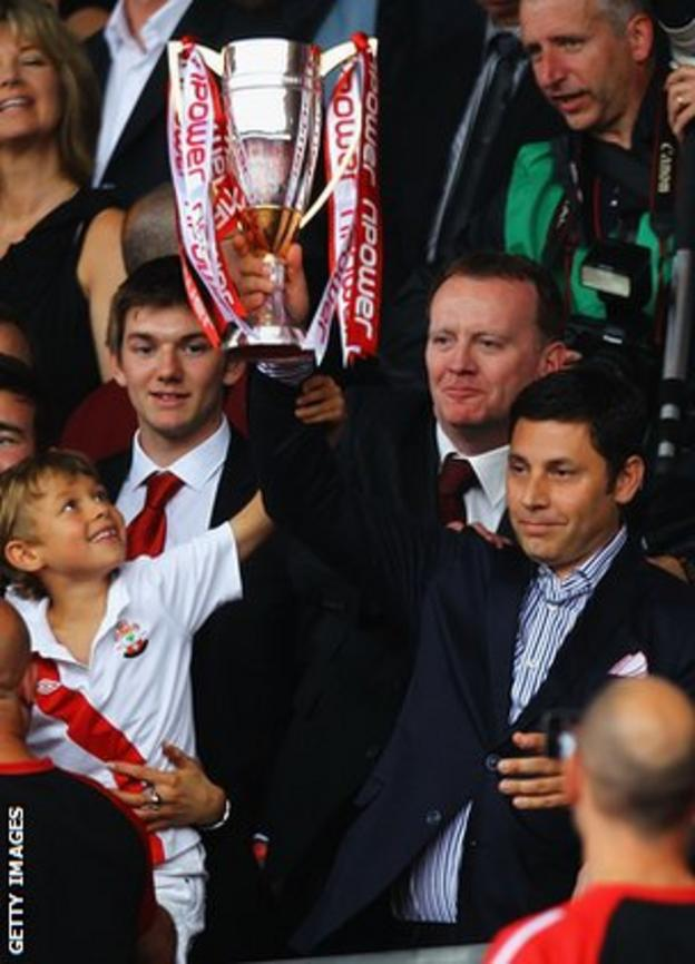 Nicola Cortese celebrates Southampton's promotion to the Championship from League One in 2011