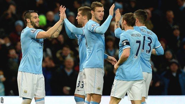 Manchester City players celebrate