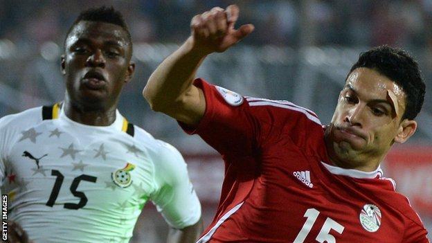 Egypt's Mohamed Mohamed Nagy (right) in action against Ghana