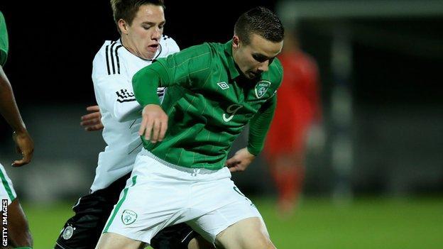 Aston Villa striker Michael Drennan in action for Republic of Ireland Under-19s