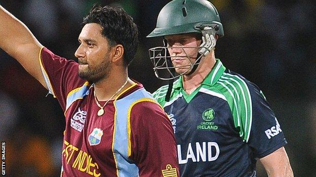 West Indies' Ravi Rampaul and Ireland's Kevin O'Brien
