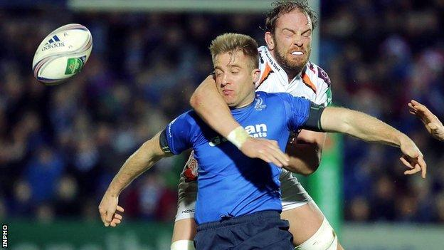 Leinster's Luke Fitzgerlad is tackled by Ospreys lock Alun Wyn Jones