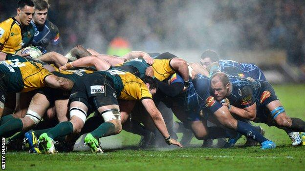 A scrum during Northampton's win over Castres