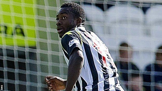 St Mirren striker Stephane Bahoken