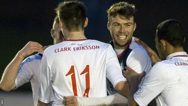 Rory Loy celebrates after scoring for Falkirk against Cowdenbeath