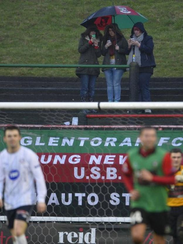 Glentoran and Coleraine drew 1-1 but the action on the pitch did not have the undivided attention of everyone at the Oval