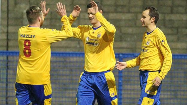 Gary Liggett takes the congratulations after scoring in Dungannon's 3-1 win over Ards