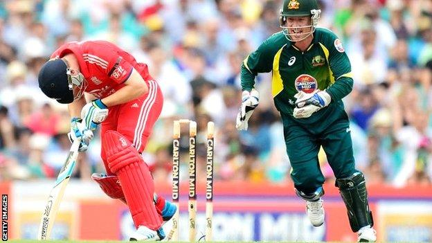 England's Jos Buttler is bowled at the Sydney Cricket Ground