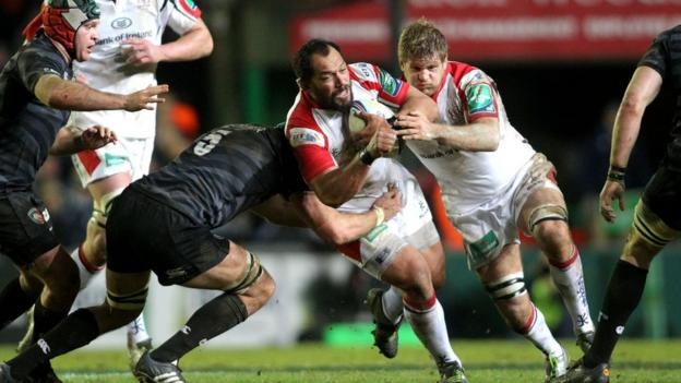 Ulster prop John Afoa crashes into Graham Kitchener as Chris Henry lends a helping hand