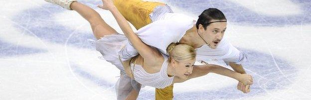 Russian pair Tatiana Volosozhar (left) and Maxim Trankov (right)