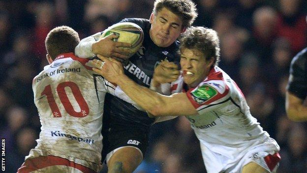 Leicester 10 Toby Flood is tackled by Paddy Jackson and Andrew Trimble of Ulster