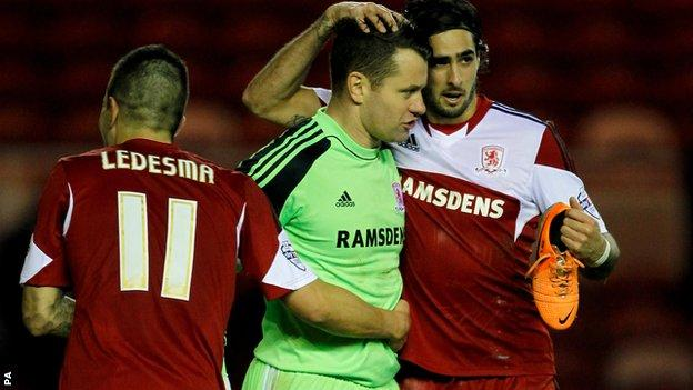 Middlesbrough's Shay Given (centre) celebrates with team-mates Emmanuel Ledesma (left) & Rhys Williams (right)
