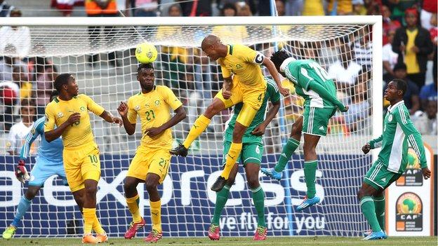South Africa lost 3-1 to Nigeria in the last Group A game at CHAN 2014
