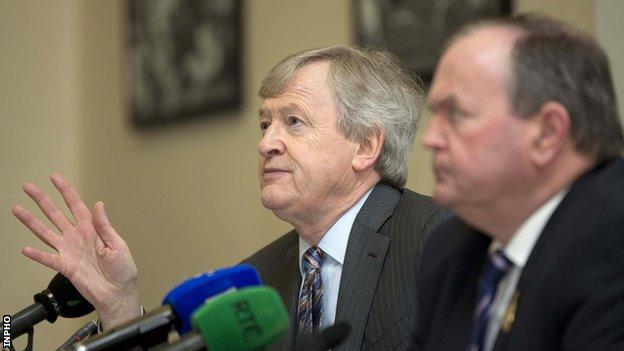 GAA director-general Paraic Duffy (left) is alongside GAA president Liam O'Neill as he unveils his annual report