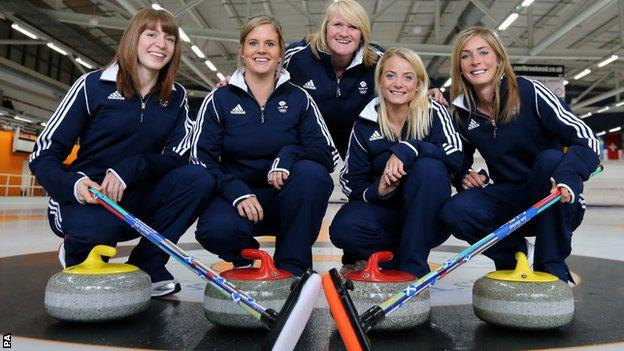 Curlers (left-right) Claire Hamilton, Vicki Adams, Anna Sloan and Eve Muirhead with coach Rhona Howie (rear)