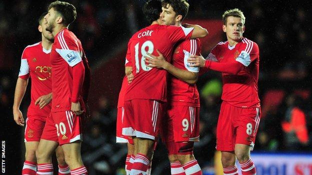 Adam Lallana and Southampton players