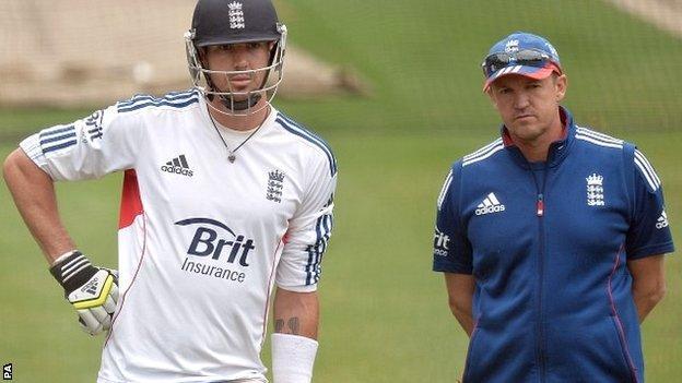 England batsman Kevin Pietersen and coach Andy Flower last summer