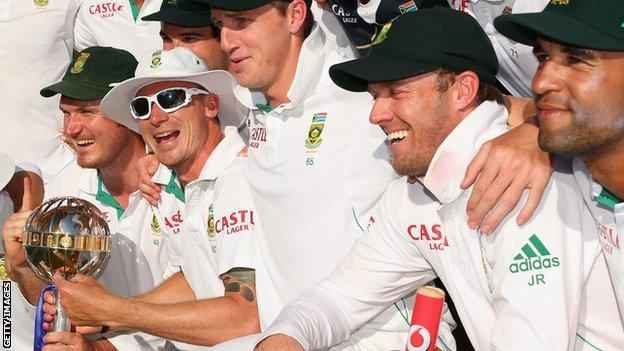 South Africa celebrate with the ICC Test mace
