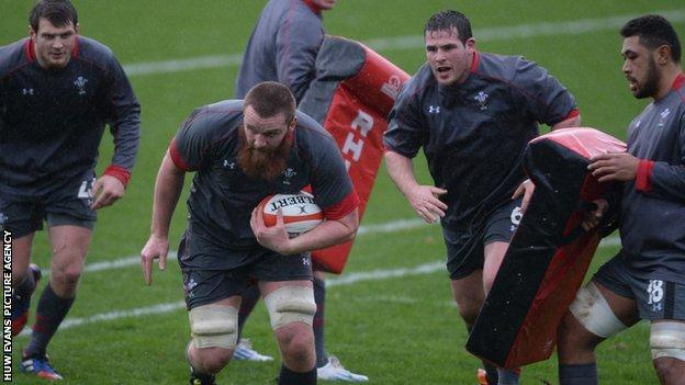 Jake Ball on the attack during a Wales training session