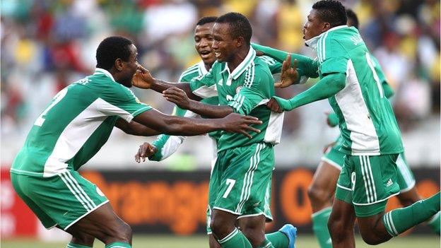 Nigeria celebrate during their victory over South Africa at CHAN 2014