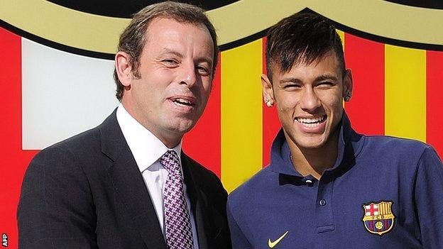 Sandro Rosell (left) & Neymar Barcelona