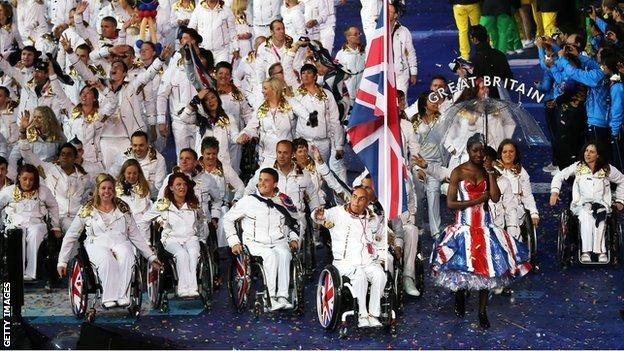 Team GB at the London 2012 Paralympics opening ceremony