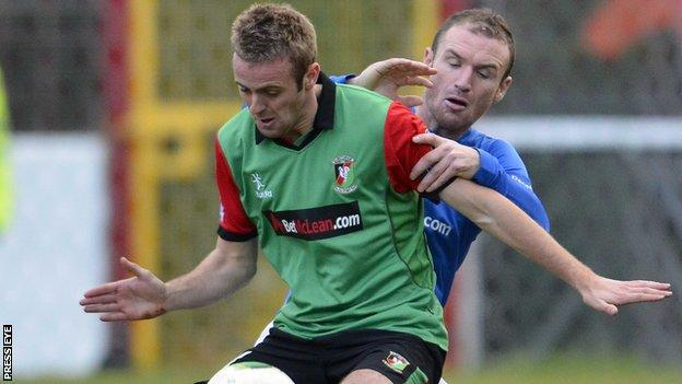 Richard Clarke in action against Glenavon earlier this season