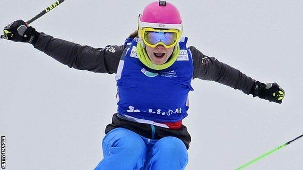 Briton Emily Sarsfield competes at the Snowboarding and Free Style World Cup Test Event in Sochi