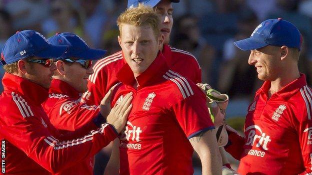 England all-rounder Ben Stokes (centre)