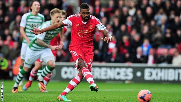 Southampton's Guly Do Prado scores a penalty against Yeovil Town