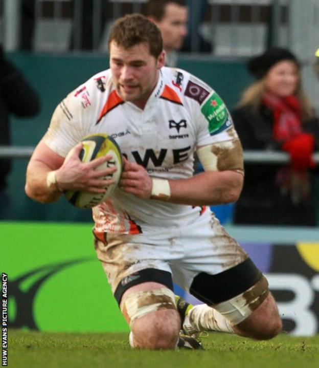 Morgan Allen scores Ospreys' second try in their LV=Cup pool match away to Exeter Chiefs.