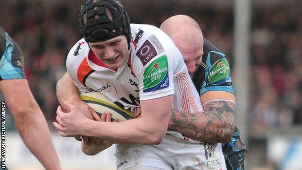 Dafydd Howellss powers through to score Ospreys' first try