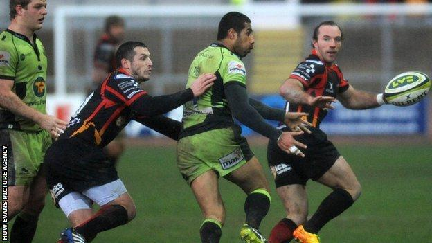 Jason Tovey in action for Dragons against Northampton