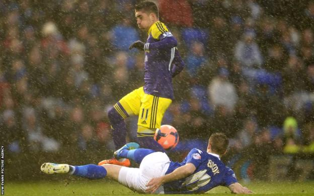 Pablo Hernandez jumps to avoid the tackle of Mitchell Hancox as Swansea trailed 1-0 to Birmingham at half-time in the FA Cup.