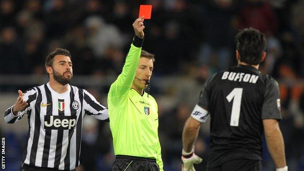 Juventus goalkeeper Gianluigi Buffon is sent off against Lazio.
