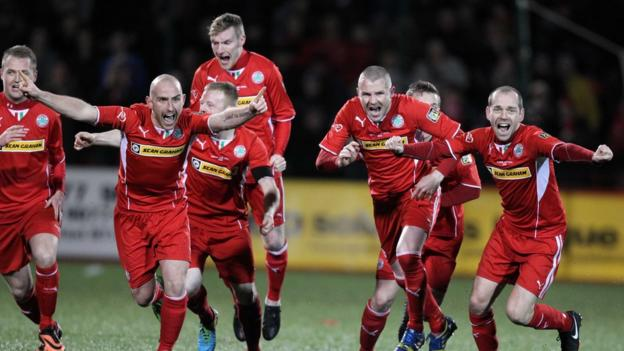 Celebrations start for Cliftonville after beating Crusaders 3-2 in a penalty shoot-out