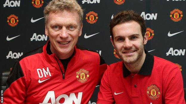 Manchester United's new record signing Juan Mata (right) with manager David Moyes