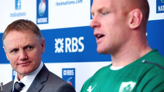 Ireland coach Joe Schmidt with captain Paul O'Connell
