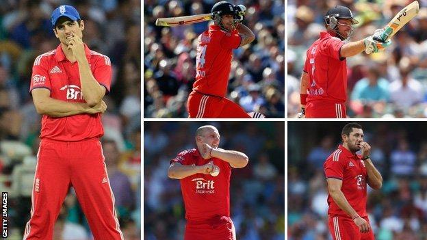 Alistair Cook, Kevin Pietersen, Ian Bell, James Treadwell, Ian Bresnan