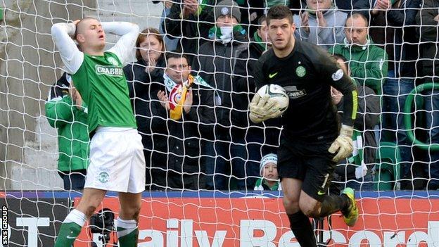 Celtic goalkeeper Fraser Forster made three good saves at Easter Road